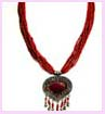jewelry wholesale distributor - multiple strand red necklace with red and gold pendant