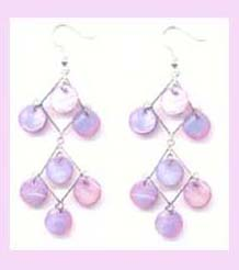 china main export fashion earring - trendy pink irredescent fashion dangle earring
