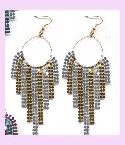china trade wholesale fashion earring - metallic fashion hoop dangle earring