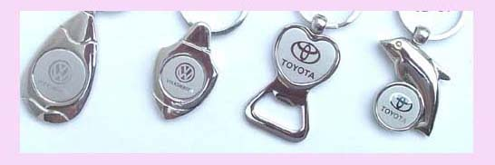 wholesale gift supplier - available various silver keychains with dealership logos and names