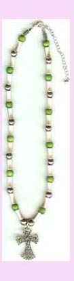 religious jewlery promotion - beaded necklace, various colors, with cross