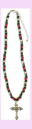 wholesale religious jewlery promotion - red and black beaded necklace with cross