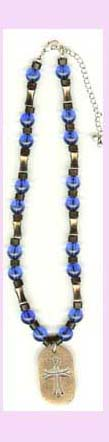 wholesale christian jewlery - beaded necklace with cross etched into pendant