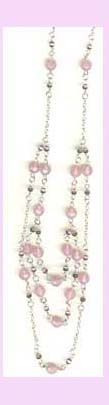 wholesale beaded gift jewlery - silver and light pink beads necklace available