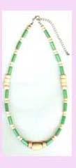 beaded jewlery wholesale distributor - beaded necklace of light green and beige color available