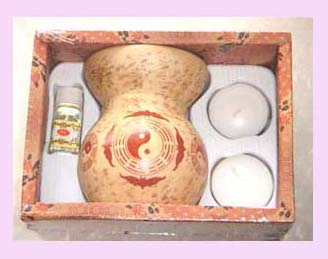 Promotional home decor set wholesale - oil burner packaged with candles and oil