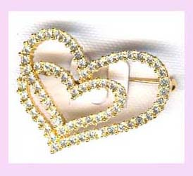 wholesale gift supplier - heartshaped pin gold and cz available