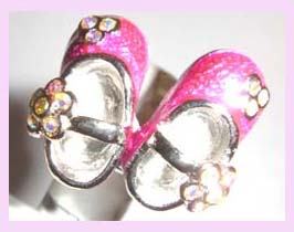 wholesale fashion jewelry promotion - silver ring desinged with pink shoes available