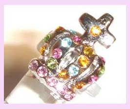 promotional gift wholesale supply - silver ring embeded with multiple colored stones